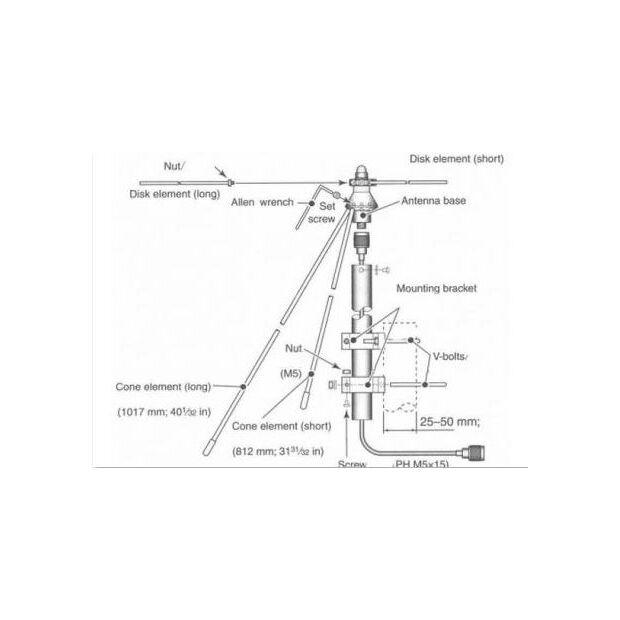 AH-8000 - Breiband Ant. 100-3335MHz, Länge ca. 936mm
