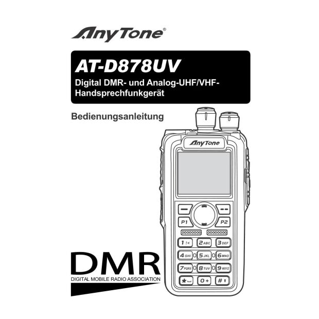 Anytone AT-D878UV Plus Dualband DMR/FM Funkgerät mit Bluetooth + GPS - 3100mAh Akku